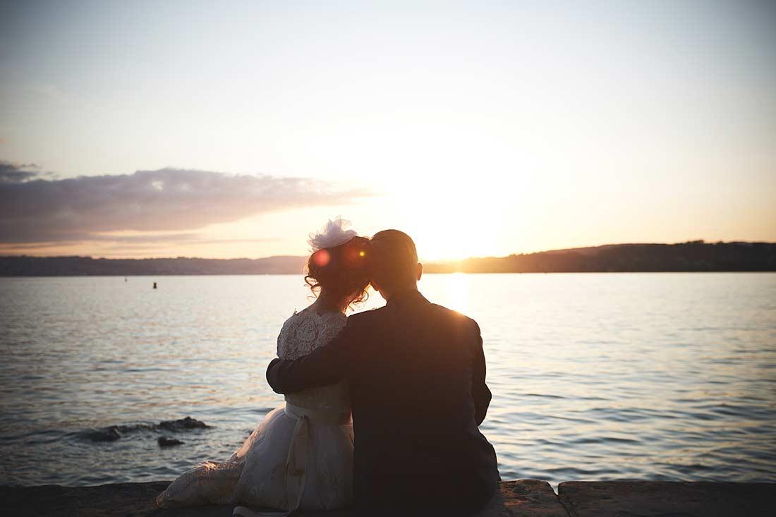 Brautpaar Hochzeit Fotoshooting Fotograf Zürich See Sonnenuntergang